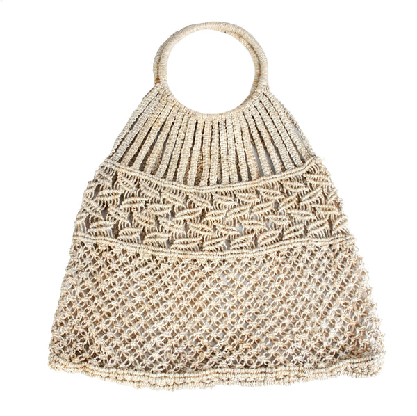 Hoop handle macrame bag