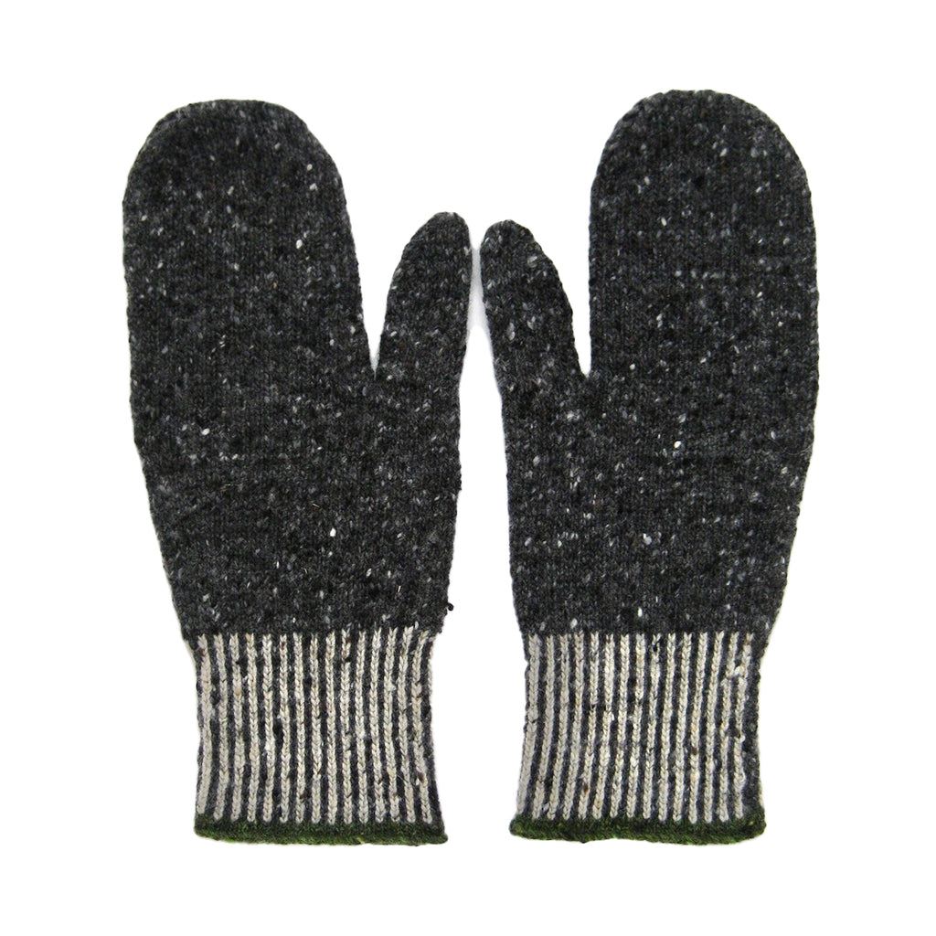 Shingle wool mittens (charcoal)