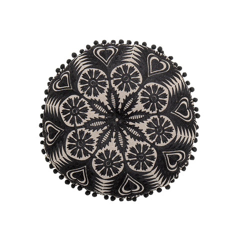 Embroidered cushion (black)