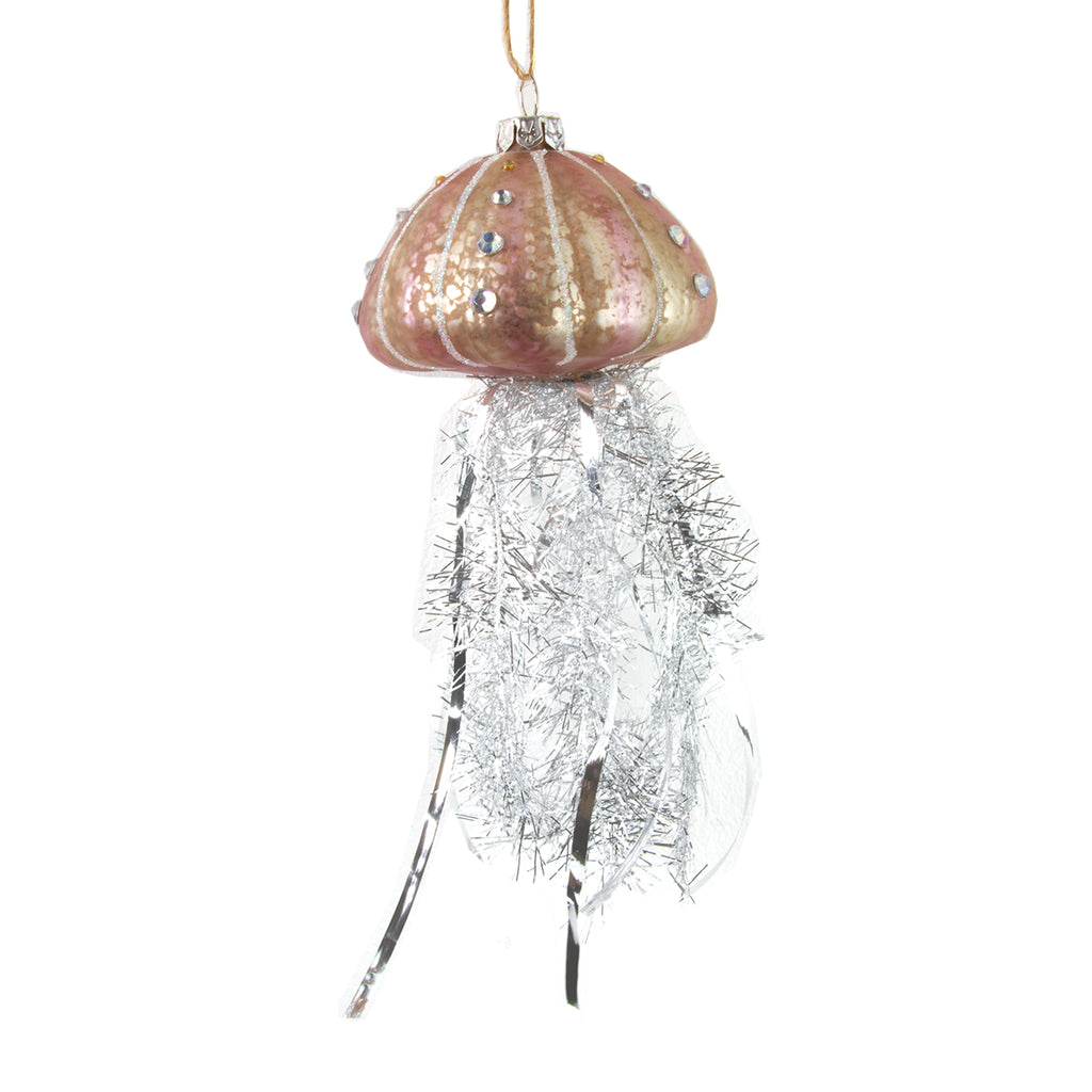 Silver tinsel jellyfish decoration
