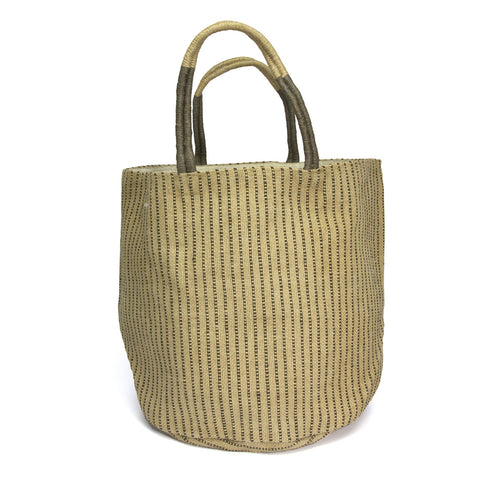 Woven striped jute bag