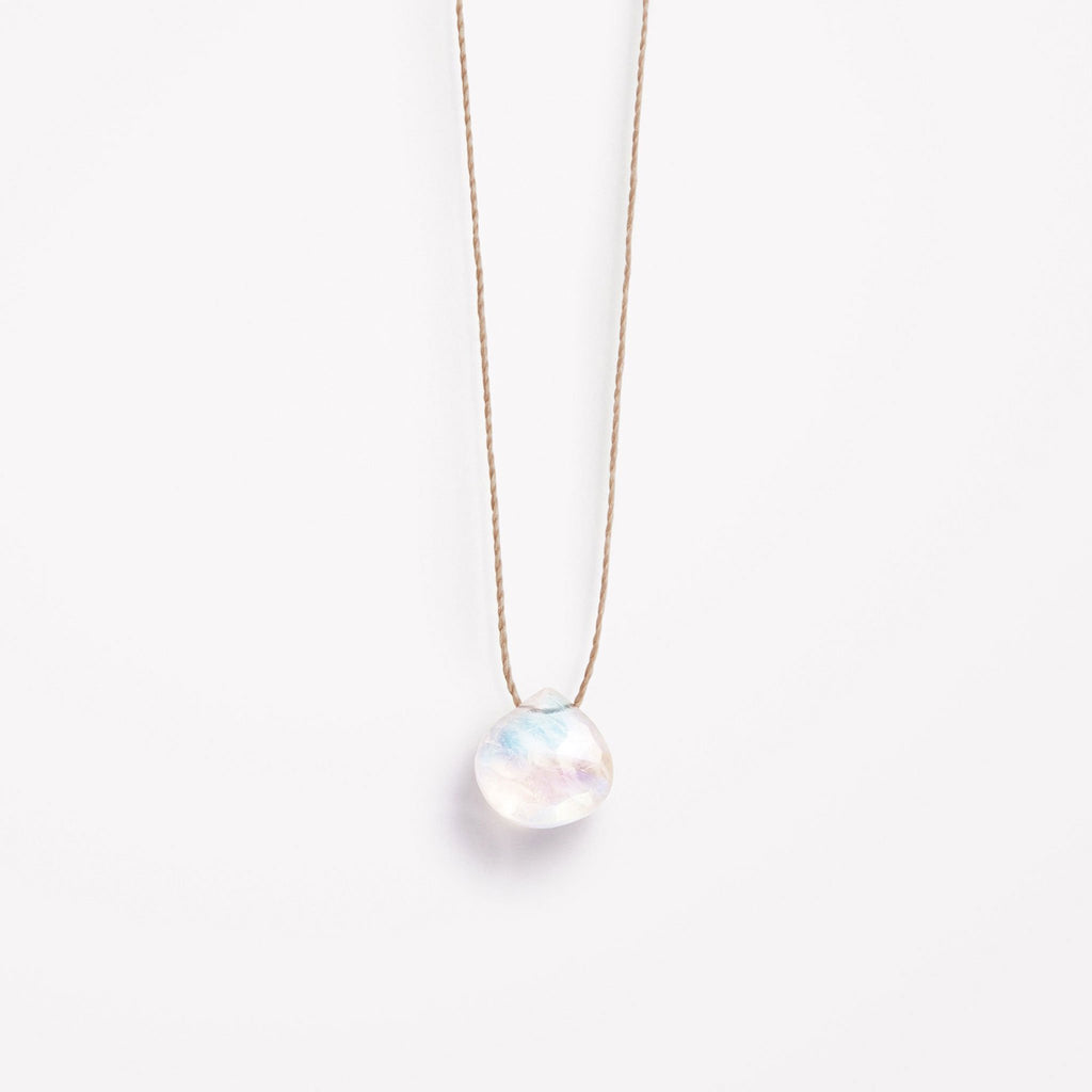 Rainbow moonstone fine cord necklace