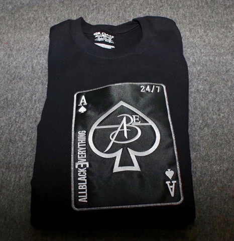 All Black Everything ♠️ Black Crew Neck Sweatshirt. (Ace of Spade Edition) Black Card