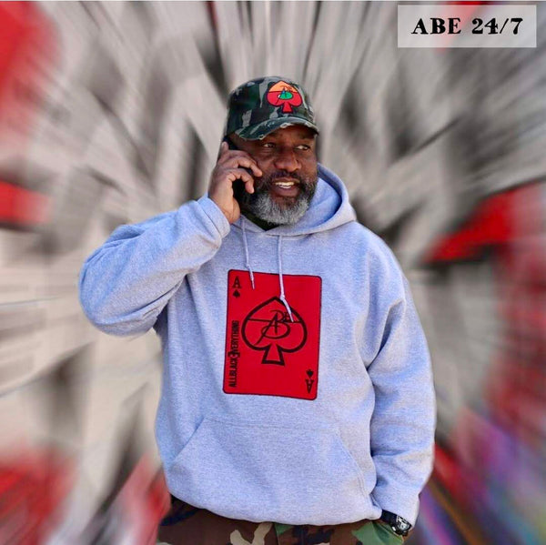 Grey Hoodie Red Ace Of Spade