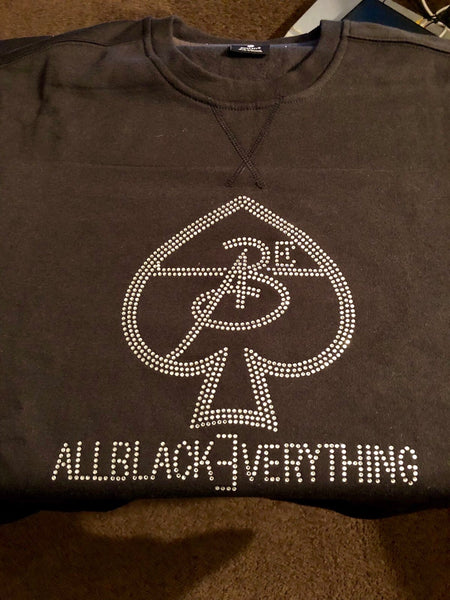 All Black Everything ♠️ (Bling Out) Crew Necks