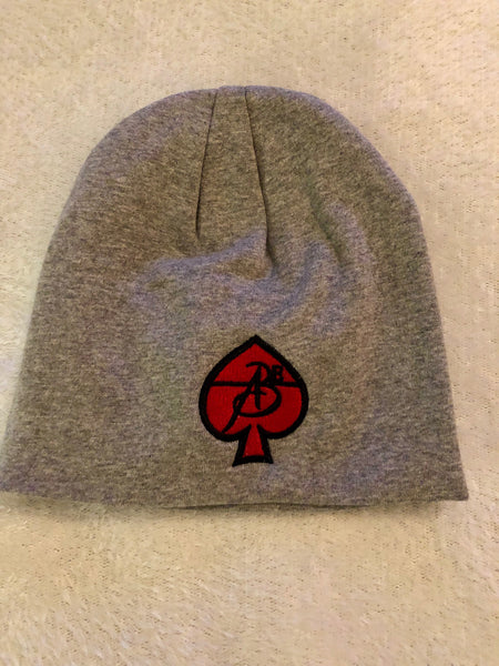 ABE247 - Beanies Grey (Black on Red Patch)