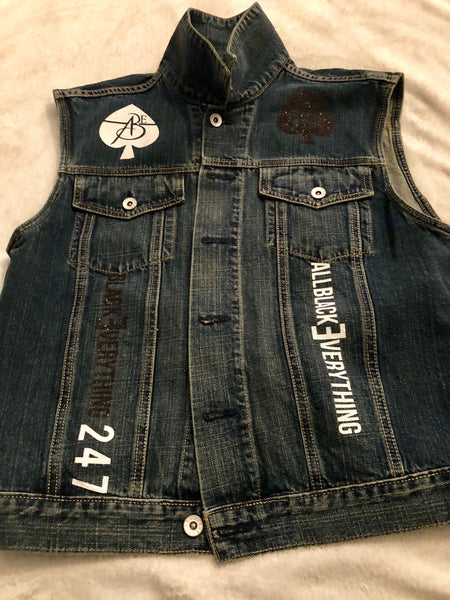 Ladies Vintage Jean Vest by ABE247 ♠️ (Bling Out)