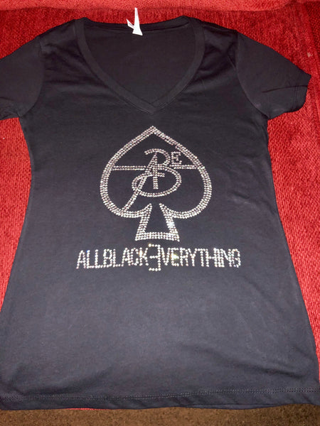 All Black Everything Women Tee Shirt (ACE OF SPADE) Rhinestones Edition (Krystal).
