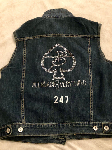 All Black Everything Women Jean Vest (BLING OUT)