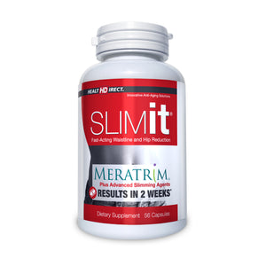 A single bottle of SLIMit with Meratrim (56 Capsules/28 Servings) on a white background.