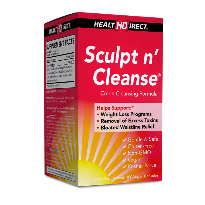 A single box of Sculpt n' Cleanse (100 capsules, 50 servings) on a white background.