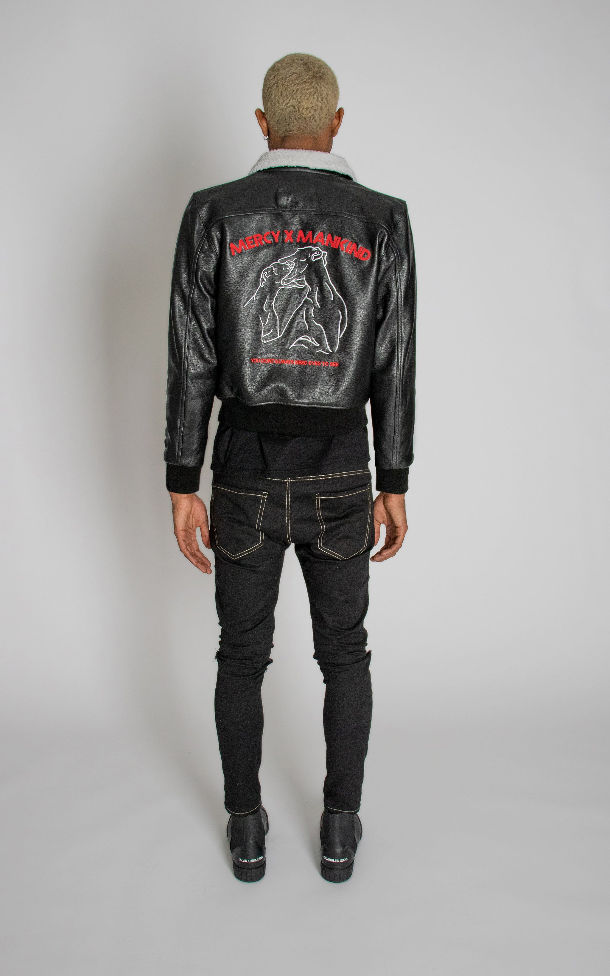 B2 Embroidered Leather Bomber