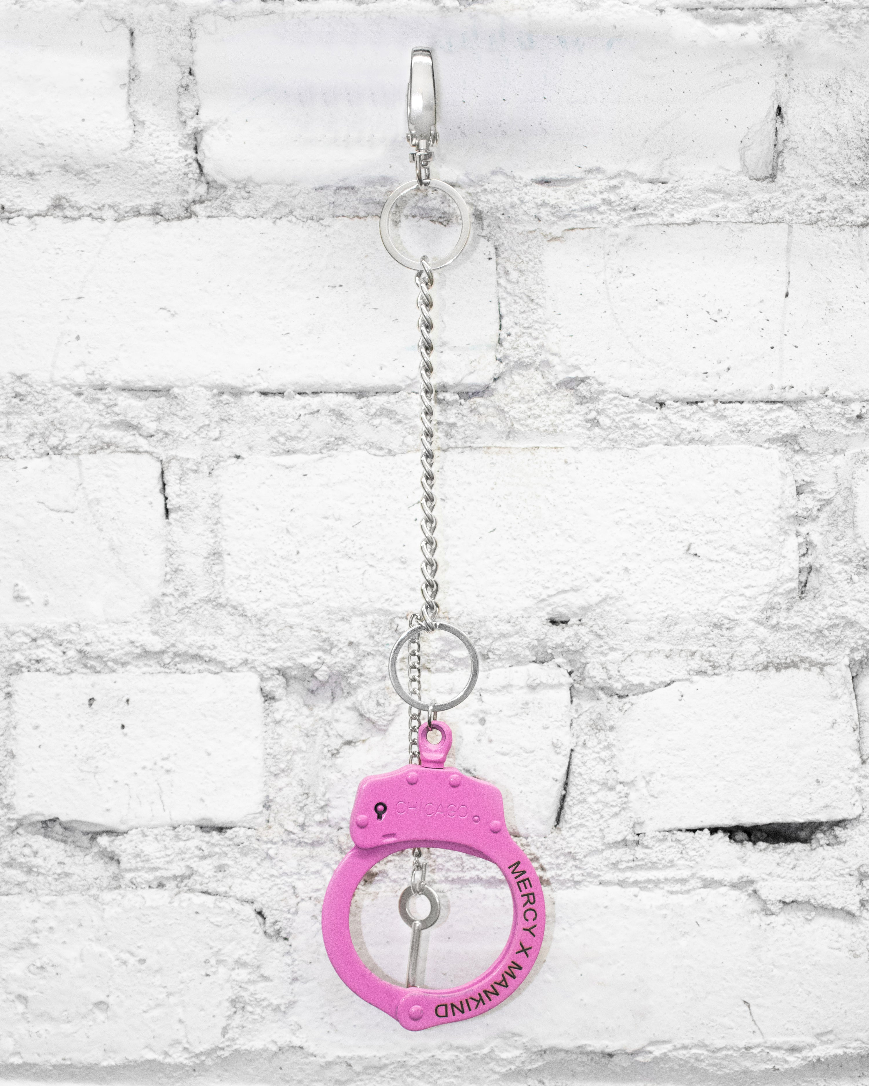 STEEL ENGRAVED HANDCUFF BRACELET/CHAIN (PINK)