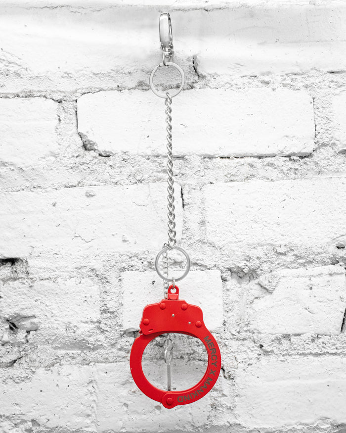STEEL ENGRAVED HANDCUFF BRACELET/CHAIN (RED)
