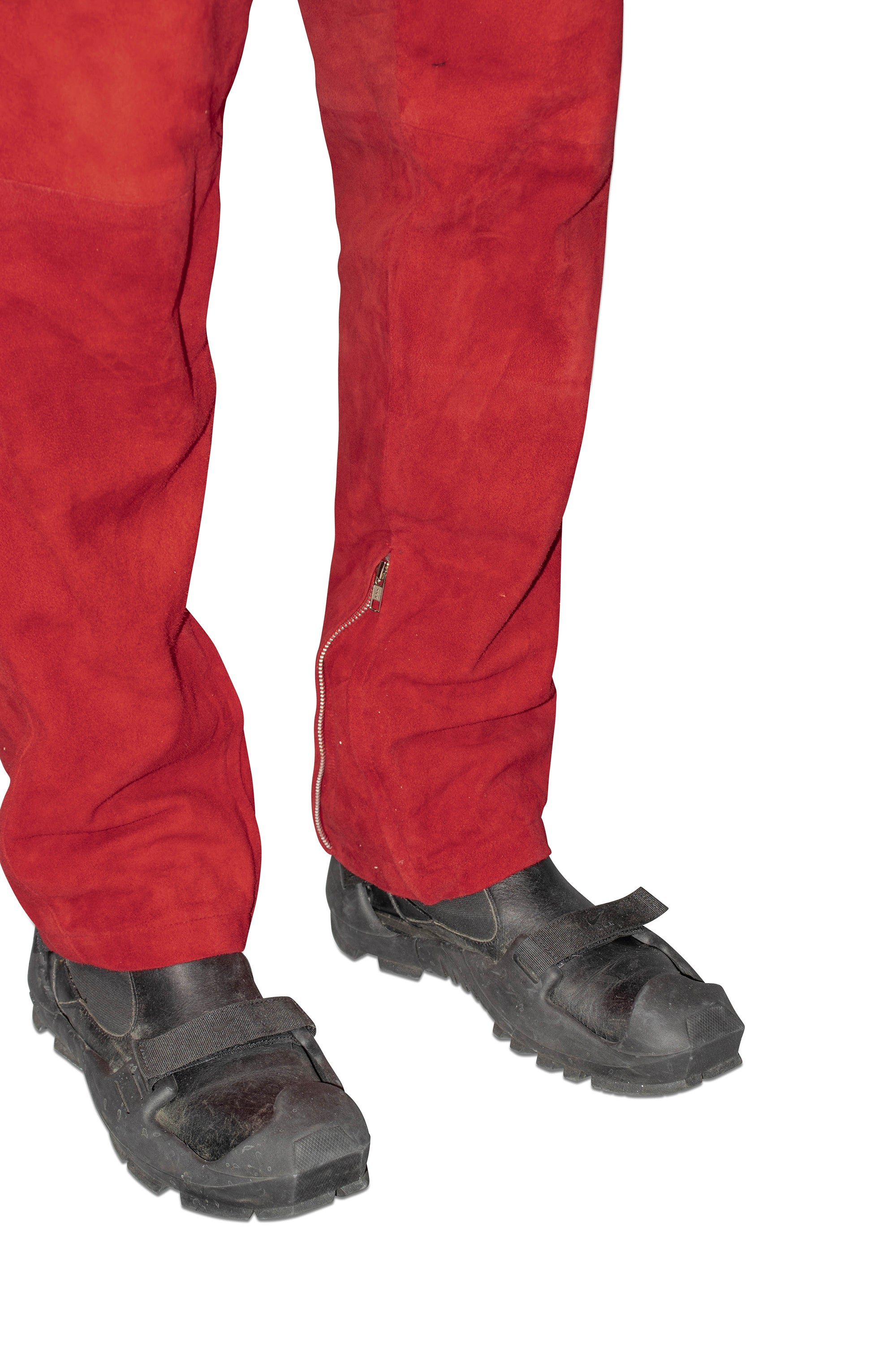 Cherry Suede Moto Trousers