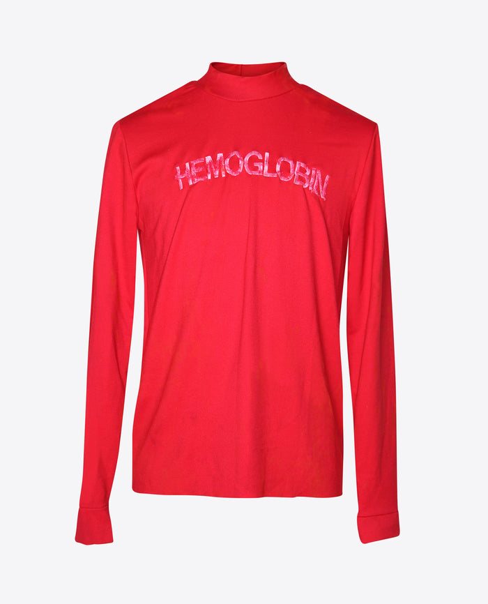 "Embroidered ""HEMOGLOBIN"" Mock Neck"