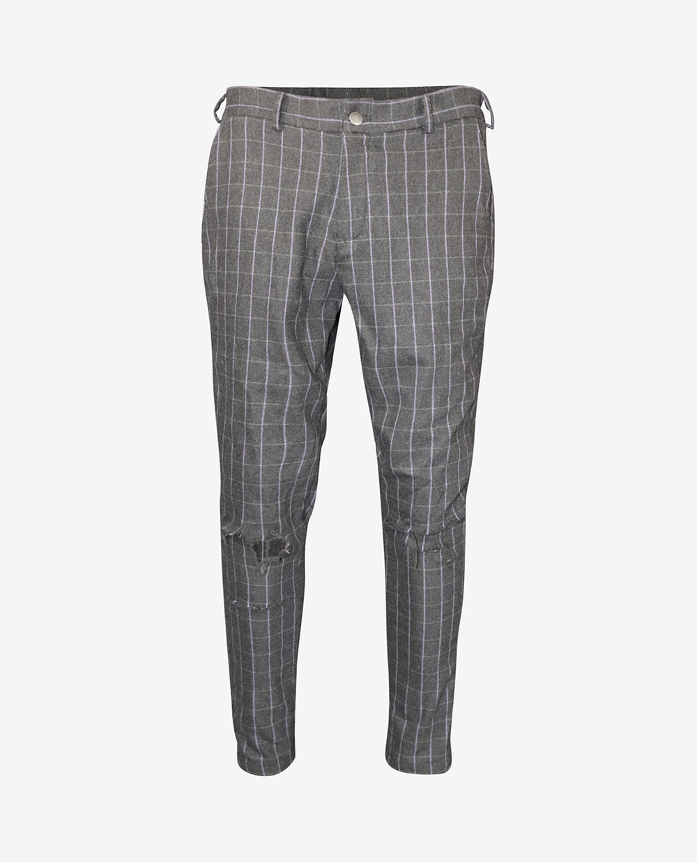 Checked Distressed Dress Trousers