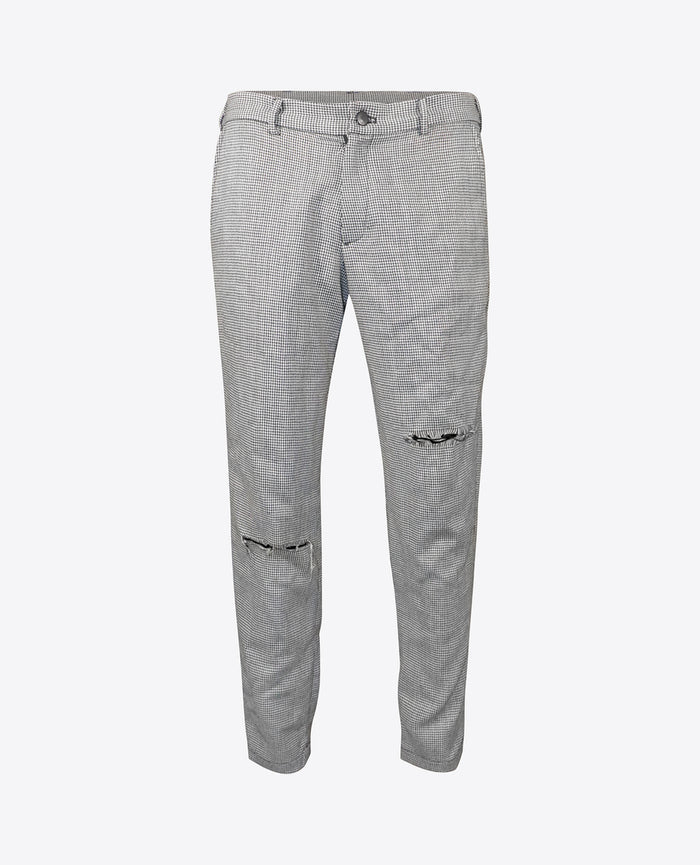 Herringbone Distressed Dress Trousers