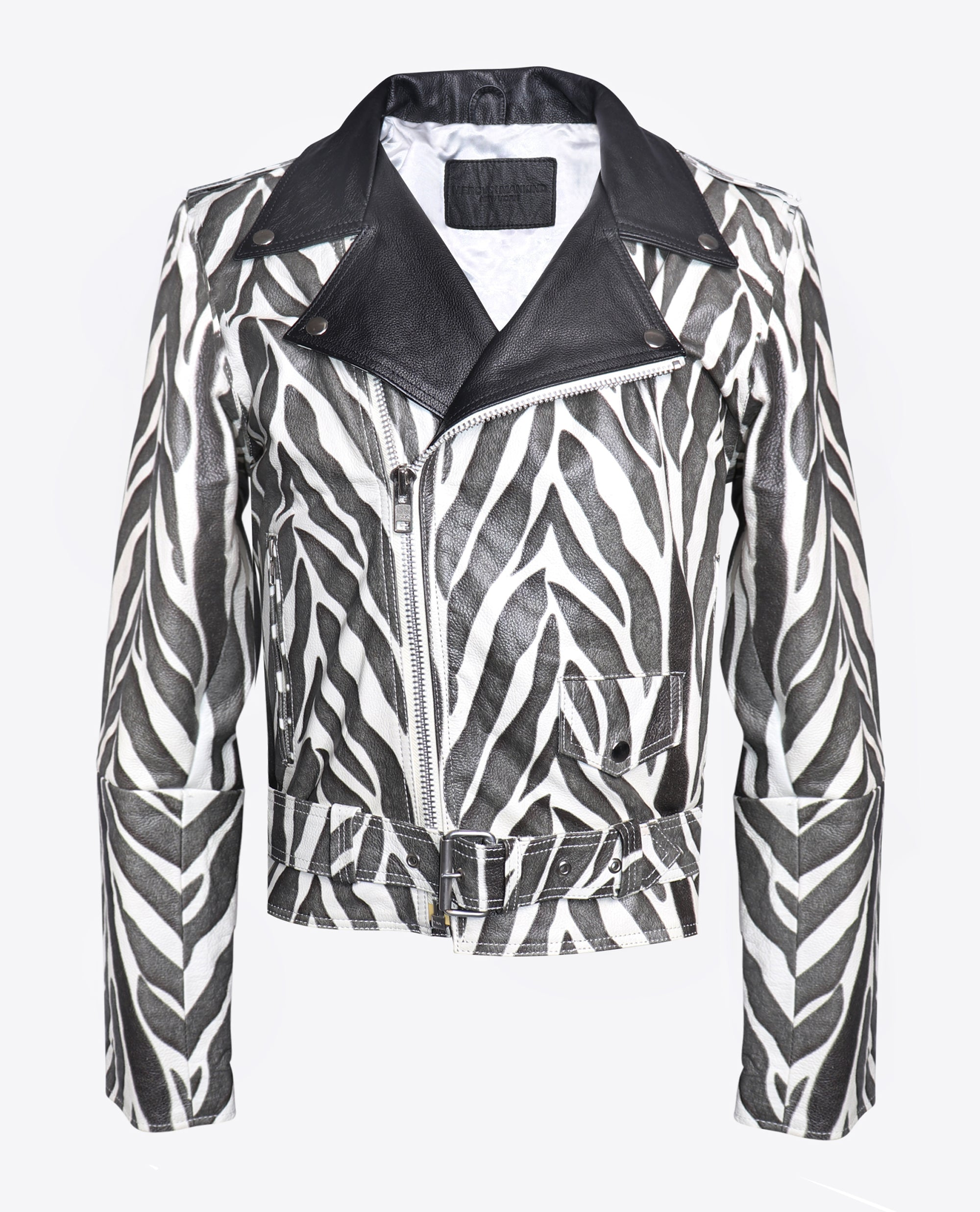 Zebra Leather Moto Jacket