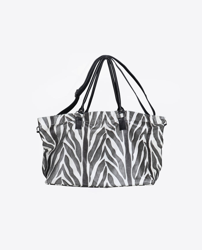 Zebra Leather Tote Bag