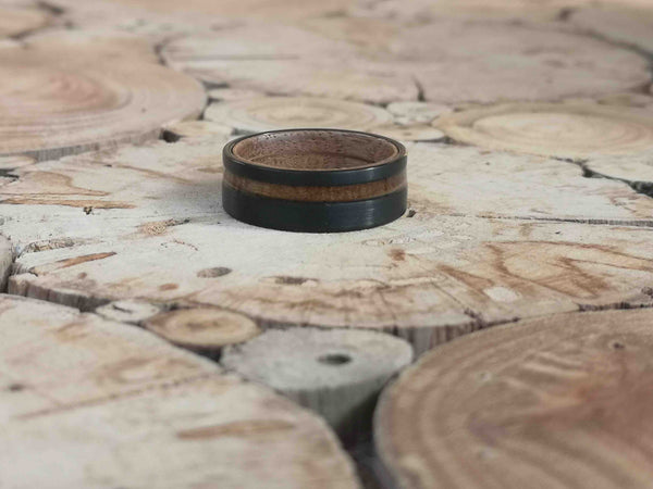 Johnny Black Double - Whiskey Barrel Wooden Tungsten Ring - Tungsten Wooden Rings - Touchwood
