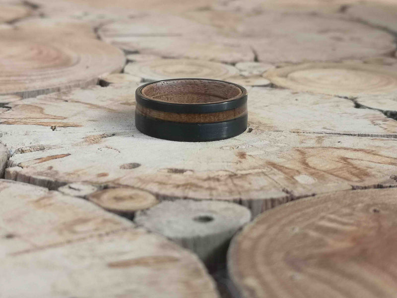 Johnny Black Double - Whiskey Barrel Wooden Tungsten Ring