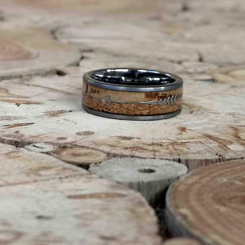 Double Corkey - Subtle & Rough Cork Tungsten Ring - Tungsten Wooden Rings - Touchwood