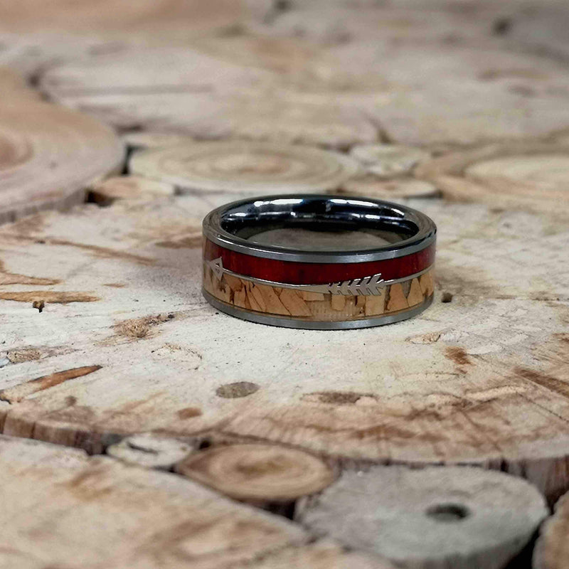 Rosy O Cork - Rosewood, Cork & Brushed Tungsten Ring - Tungsten Wooden Rings - Touchwood