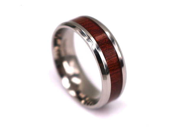 Slim Red - Titanium Wooden Rings - Touchwood