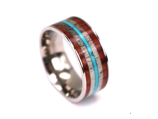 4 Seasons - Rosewood & Zebrawood Titanium Ring