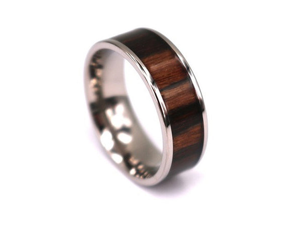 Big Brown - Walnut Wooden Titanium Ring