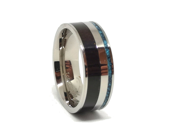 Jozi Express - Ebony & Blue Marble Titanium Ring