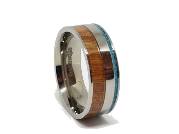 Blue Stone Cherry - Titanium Wooden Rings - Touchwood