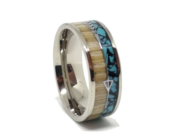 Breaking Bad - Light Zebrawood & Blue Resin Titanium Ring