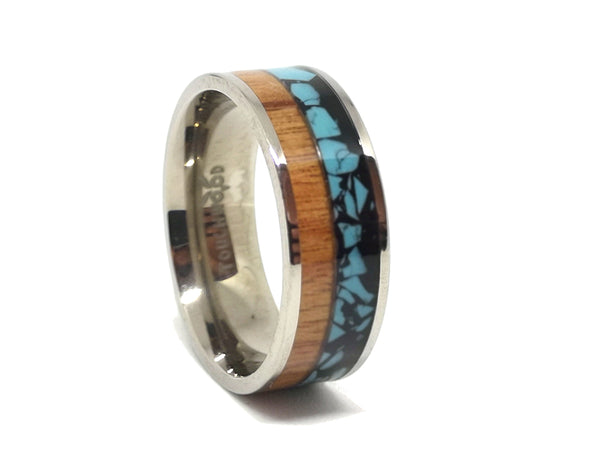The Millenial - Rosewood & Blue Stone Resin Titanium Ring