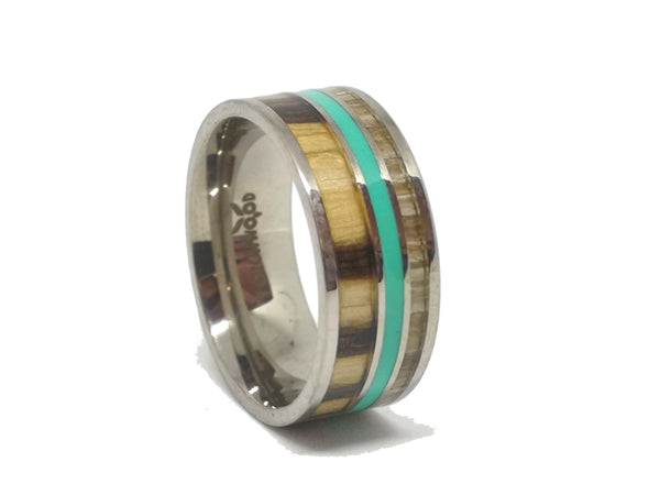 Green Lantern - 2 Types Of Zebrawood & Green Resin Titanium Ring