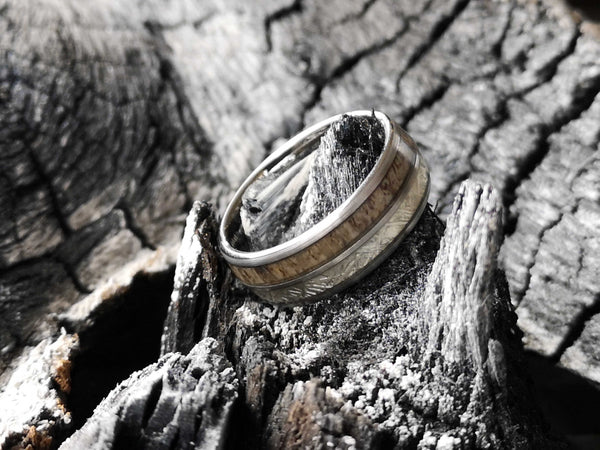 Moonman - Meteorite & Deer Antler Tungsten Ring