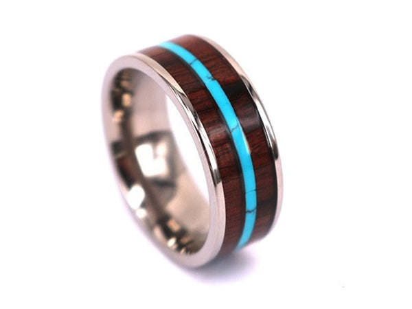 Ocean Avenue - Walnut Wooden Titanium Ring