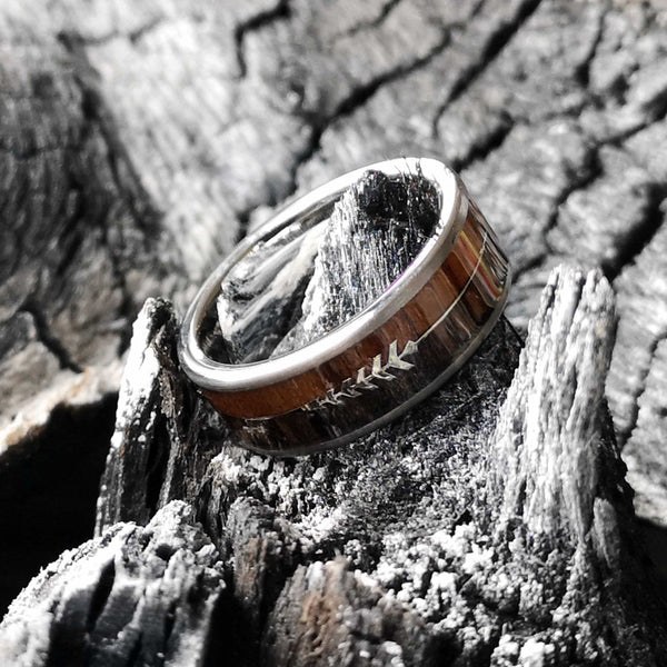 Robin Hood - Walnut & Zebra Wood Tungsten Ring