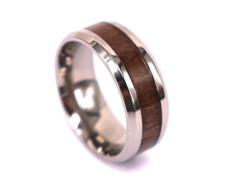 Slim Brown - Walnut Wooden Titanium Ring