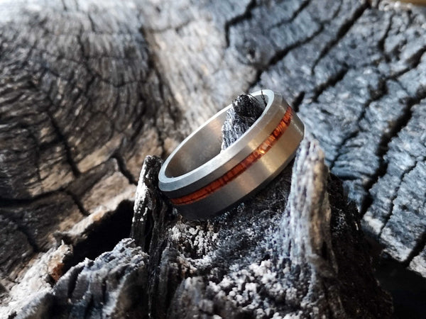 The Original - Fully Brushed Tungsten Ring With Rosewood Inlay