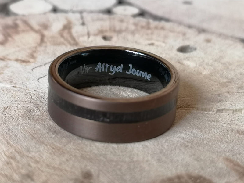 Tungsten Ring Engraving (Message Or Fingerprint)