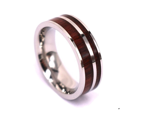 Walnut Cousin - Titanium Wooden Rings - Touchwood