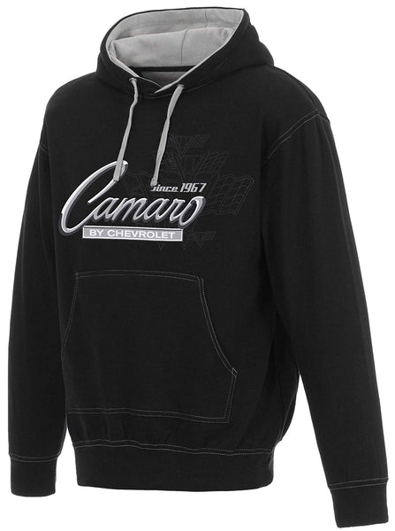 Men's Chevy Camaro Pullover Hoodie Gray Hood Lining & Body Stitching-Hoodie-JH Design-Small-Black-AFC