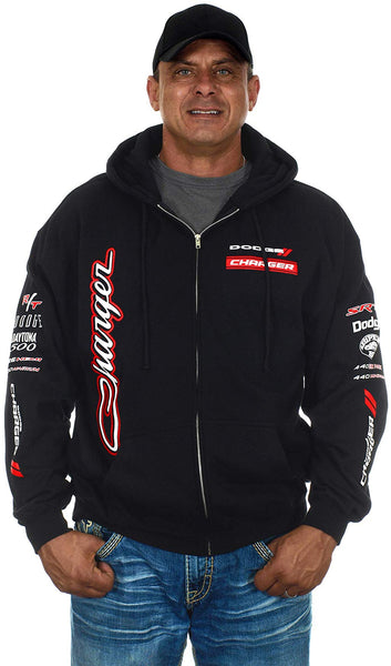 Men's Dodge Charger Collage Zip Up Hooded Sweatshirt
