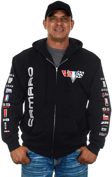 Men's Chevy Camaro Hoodie a Collage Full Zip Up Black Hoodie-Hoodie-JH Design-Small-Black-AFC