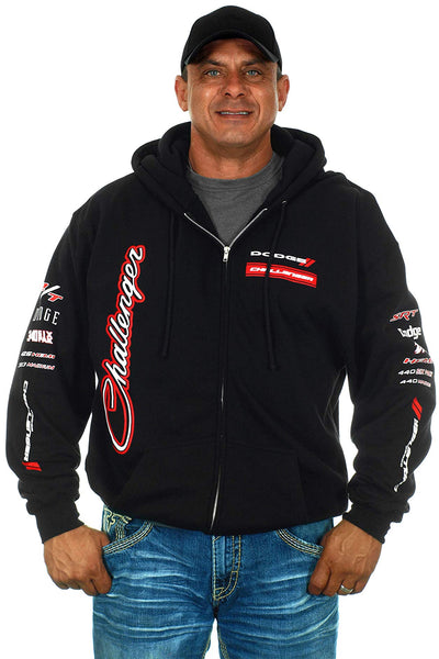 Men's Dodge Challenger Hoodie Zip-Up Collage Sweatshirt-Hoodie-JH Design-Small-AFC