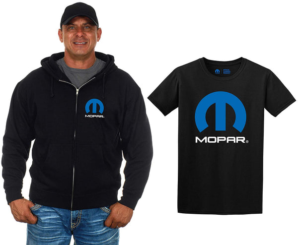 Men's MOPAR Zip-Up Hoodie & T-Shirt Combo Gift Set-Hoodie-JH Design-Small-AFC