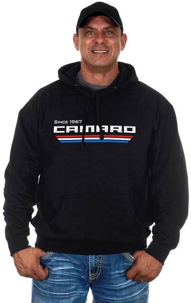 Mens Chevy Camaro Pullover Since 1967 Logo Line Hoodie-Hoodie-JH Design-Small-Black-AFC