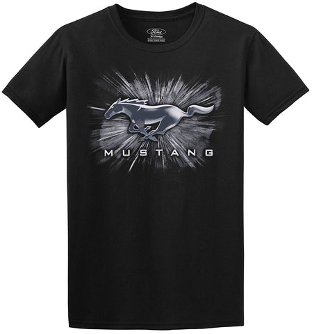 Men's Ford Mustang Short Sleeve Crew Neck T-Shirt Silver Burst Design-T-Shirt-JH Design-Small-AFC